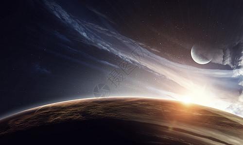 夜空上的地球月亮星星蓝天上的地球月亮星星图片