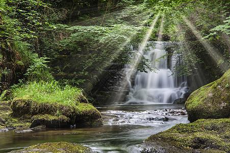 史诗瀑布森林景观形象与附加的戏剧太阳光束突破树木林地图片