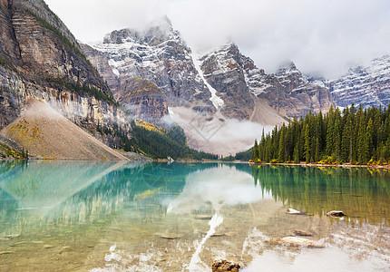 美丽的绿松石水域的冰碛湖,上面有白雪覆盖的山峰加大夫国家公园图片