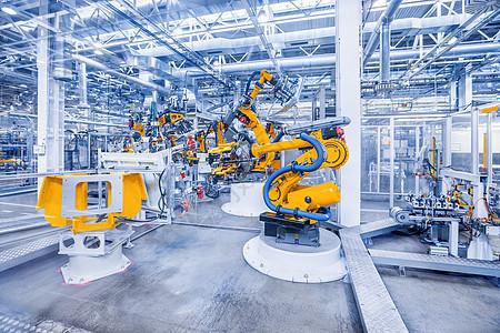汽车工厂的机器人手臂图片