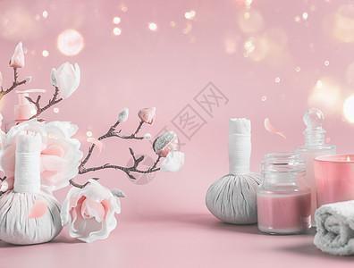 水疗背景与身体护理工具,花卉化妆品粉底粉红色背景与花枝博克美丽的图片