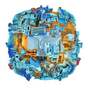 位移世界系列科学现代技术教育学科上孤立于白色上的抽象图案的三维渲染图片