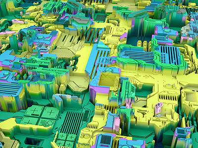 位移世界系列科学现代技术教育学科抽象技术模式的三维渲染图片