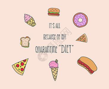 这都因为的检疫饮食有趣的借口报价,快餐套装,巨魔文字艺术卡通插图家庭隔离高热量营养,比萨饼,汉堡,热狗,甜甜圈或冰图片