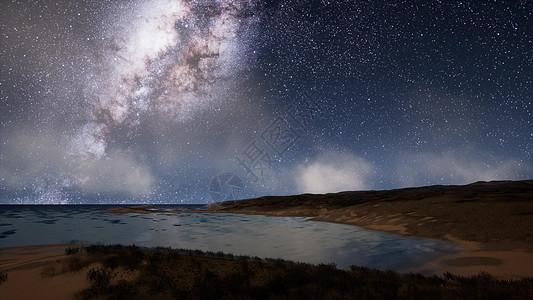 牛奶路星星湖面上的夜晚图片