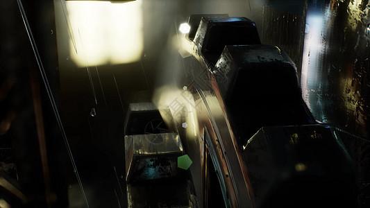 城市场景雨夜与波克灯图片