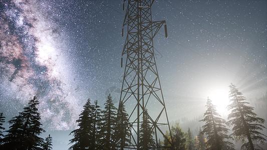 星空背景上的高压电力线图片