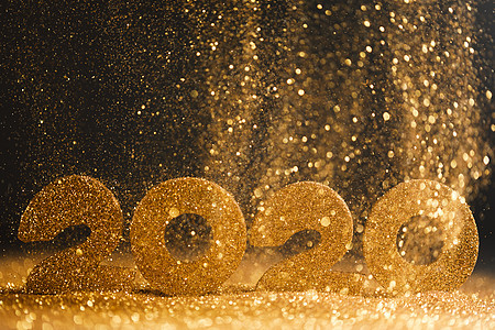 2020年新年豪华理念金色2020年新年水平模板与金色闪光的黑色背景2020年新年豪华图片