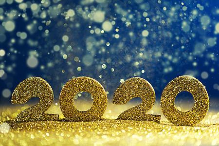 2020年新年豪华理念金色2020年新年水平模板与金色闪光的蓝色背景2020年新年豪华图片