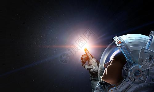 女孩宇航员太空触摸行星这幅图像的元素由美国宇航局提供探索外层图片
