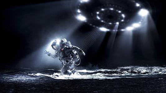 宇航员穿着宇航服水里跑宇航员跑得很快图片