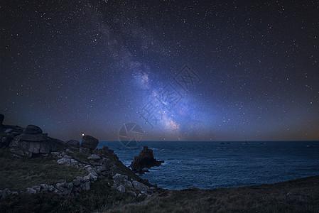 令人惊叹的充满活力的银河复合图像英格兰康沃尔的陆地景观上结束图片