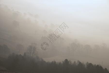 美丽的冬季日出景观图像的希望谷英国的高峰地区与云倒置雾图片