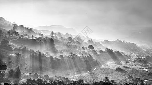 令人惊叹的秋景日出湖区,阳光透过薄雾流入朗代尔山谷图片