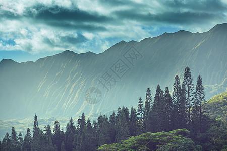 夏威夷瓦胡岛上的山脉图片