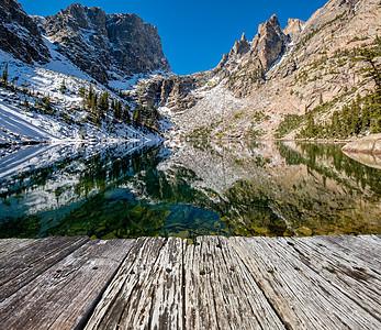 翡翠湖倒影与岩石山脉雪周围秋天美国科罗拉多州洛基山公园图片