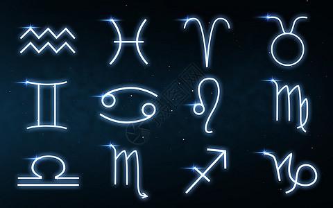 占星术占星术黄道星座黑暗的夜空与恒星背景夜空背景上十生肖图片