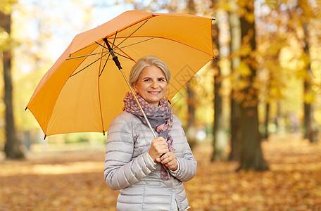 老天气季节秋季公园带伞的快乐老妇女的肖像秋天公园带着雨伞的快乐高级女人图片