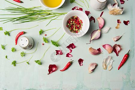 烹饪用草药香料,俯视图图片