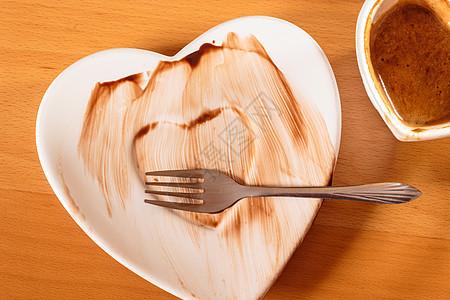 特写心形杯咖啡脏碟板俯视图特写杯咖啡脏碟板图片