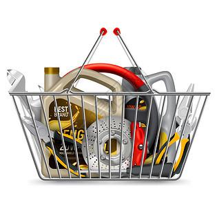 汽车零件购物写实构图与购物车金属篮子充满机油工具矢量插图图片