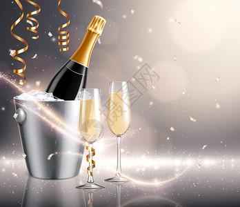 香槟假日背景构图与现实的图像桶充满冰瓶子与饮用眼镜矢量插图图片