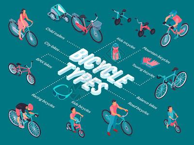 自行车类型等距流程图,包括城市BMX赛车道路平衡游山儿童车辆图片