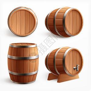 木桶写实与四个图像橡木桶与木材身体水龙头矢量插图图片