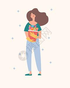 个漂亮的黑发女孩手里着桶清洁用品家务工作打扫房间矢量插图个漂亮的黑发女孩手里着桶清洁产品矢量插图图片