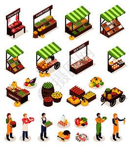农贸市场等距图标柜台盒桶与新鲜肉类,水果,蔬菜,乳制品海洋产品矢量插图图片