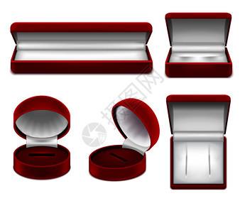 套真实的开放红色珠宝盒项链手镯耳环螺柱隔离矢量插图图片