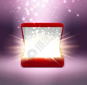现实的红色打开珠宝盒,闪耀模糊的紫色背景矢量插图图片