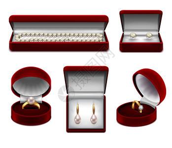 套真实的珠宝黄金与珍珠宝石红色盒子矢量插图图片