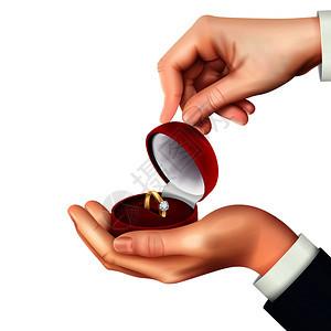 打开珠宝盒与订婚结婚戒指手,现实的构图为求婚,呈现矢量插图图片