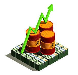 石油石油工业生产效益等距成与美元钞票桶值增长箭头矢量图图片