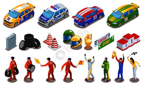 赛车运动图标与赛车队符号等距孤立矢量插图图片