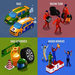 赛车运动图标与赛车队获奖者符号等距孤立矢量插图图片