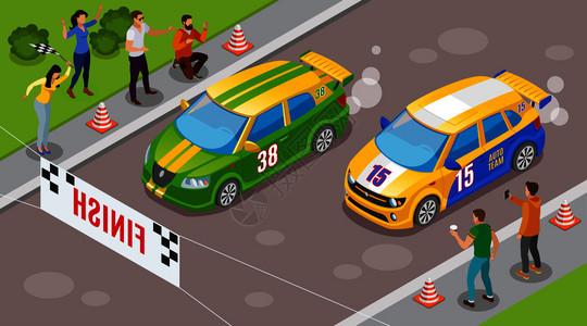 赛车运动背景与跑车开始符号等距矢量插图图片