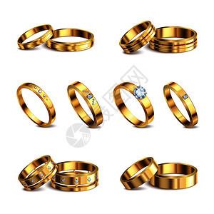 金色结婚戒指6现实隔离贵金属与钻石珠宝白色背景矢量插图图片