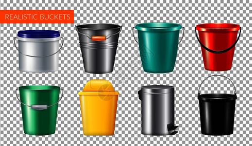 现实桶透明图标香槟金属桶塑料垃圾桶矢量插图图片