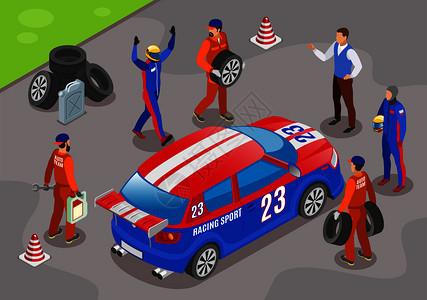 赛车运动背景与赢家赛车队符号等距矢量插图图片