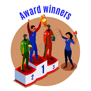赛车运动与获奖者符号等距矢量插图图片