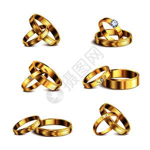 金婚戒指夫妇系列6现实隔离贵金属珠宝白色背景矢量插图图片