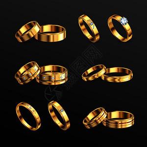 黄金珠宝钻石豪华订婚结婚戒指6现实套黑色背景孤立矢量插图图片