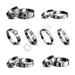 白金铂金贵金属结婚戒指6现实孤立集珠宝阴影中背景矢量插图图片