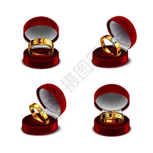 婚礼订婚金戒指打开的红色珠宝盒案例4现实白色背景矢量插图图片