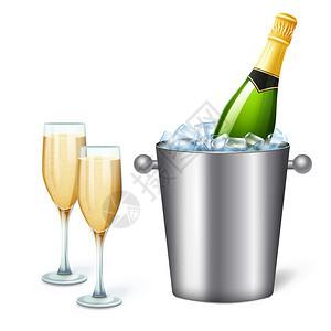 彩色写实香槟桶成与冷香槟两个完整的眼镜矢量插图图片