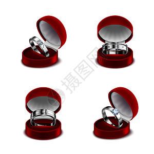 豪华珠宝4纯银婚礼订婚钻石戒指打开的红色盒子现实矢量插图图片