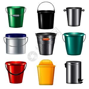 九个现实桶图标塑料金属同的需要矢量插图图片