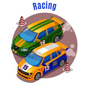 赛车运动与赛车轨道锥符号等距矢量插图图片